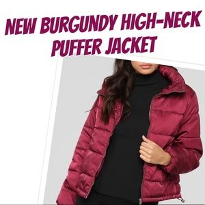 New FashionNova Burgundy High-neck Puffer jacket